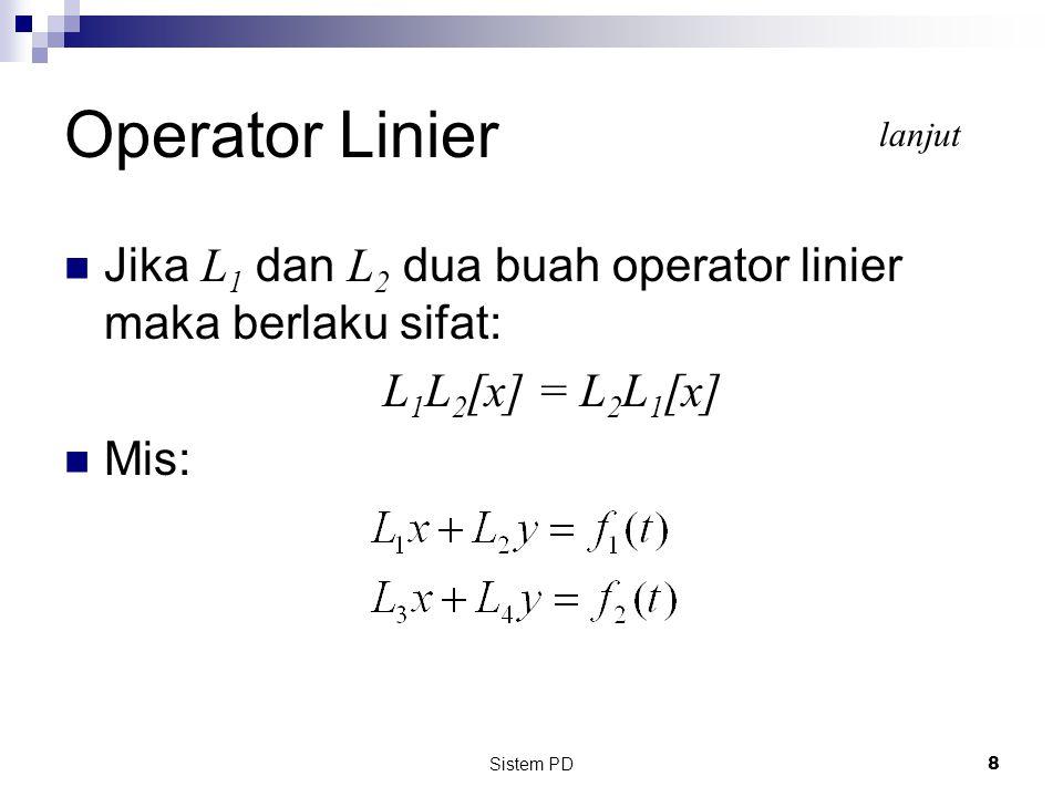 Operator Linier lanjut. Jika L1 dan L2 dua buah operator linier maka berlaku sifat: L1L2[x] = L2L1[x]